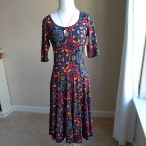Lularoe Nicole dress- multicolored geometric, S